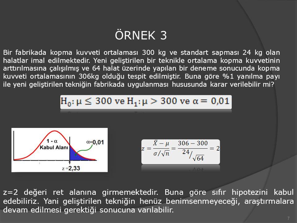 7 ÖRNEK 3 Bir fabrikada kopma kuvveti ortalaması 300 kg ve standart sapması 24 kg olan halatlar imal edilmektedir. Yeni geliştirilen bir teknikle orta