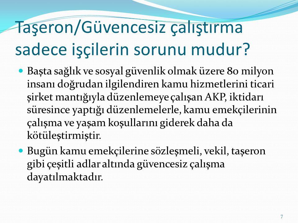 Kamu Personel Rejiminde değişiklik, AKP'nin neredeyse 10 yıldır gündemindedir. Bugüne kadar torba yasalar ve fiili uygulamalarla emekçileri güvencesiz