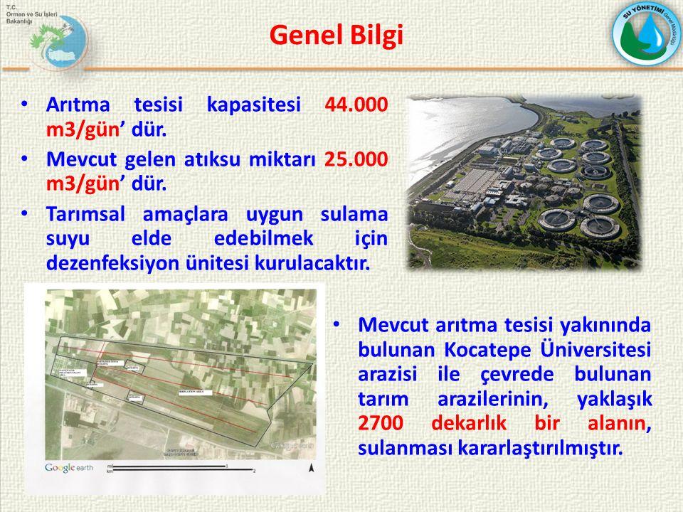 Genel Bilgi Arıtma tesisi kapasitesi 44.000 m3/gün' dür. Mevcut gelen atıksu miktarı 25.000 m3/gün' dür. Tarımsal amaçlara uygun sulama suyu elde edeb