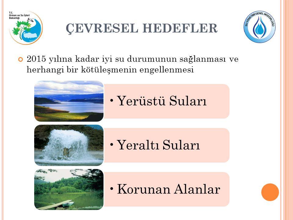 ÇEVRESEL HEDEFLER 2015 yılına kadar iyi su durumunun sağlanması ve herhangi bir kötüleşmenin engellenmesi Yerüstü SularıYeraltı SularıKorunan Alanlar