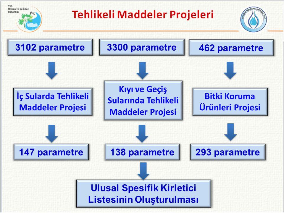 İç Sularda Tehlikeli Maddeler Projesi Kıyı ve Geçiş Sularında Tehlikeli Maddeler Projesi Bitki Koruma Ürünleri Projesi 147 parametre138 parametre293 parametre Ulusal Spesifik Kirletici Listesinin Oluşturulması 3102 parametre3300 parametre 462 parametre
