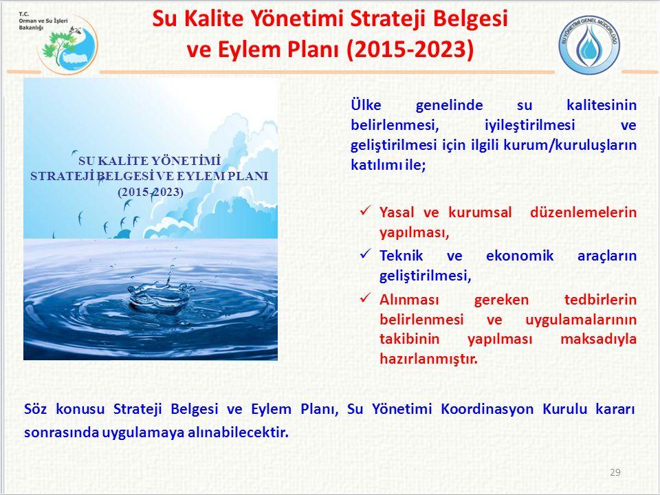 Su Kalite Yönetimi Strateji Belgesi ve Eylem Planı (2015-2023) Ülke genelinde su kalitesinin belirlenmesi, iyileştirilmesi ve geliştirilmesi için ilgili kurum/kuruluşların katılımı ile; Yasal ve kurumsal düzenlemelerin yapılması, Teknik ve ekonomik araçların geliştirilmesi, Alınması gereken tedbirlerin belirlenmesi ve uygulamalarının takibinin yapılması maksadıyla hazırlanmıştır.