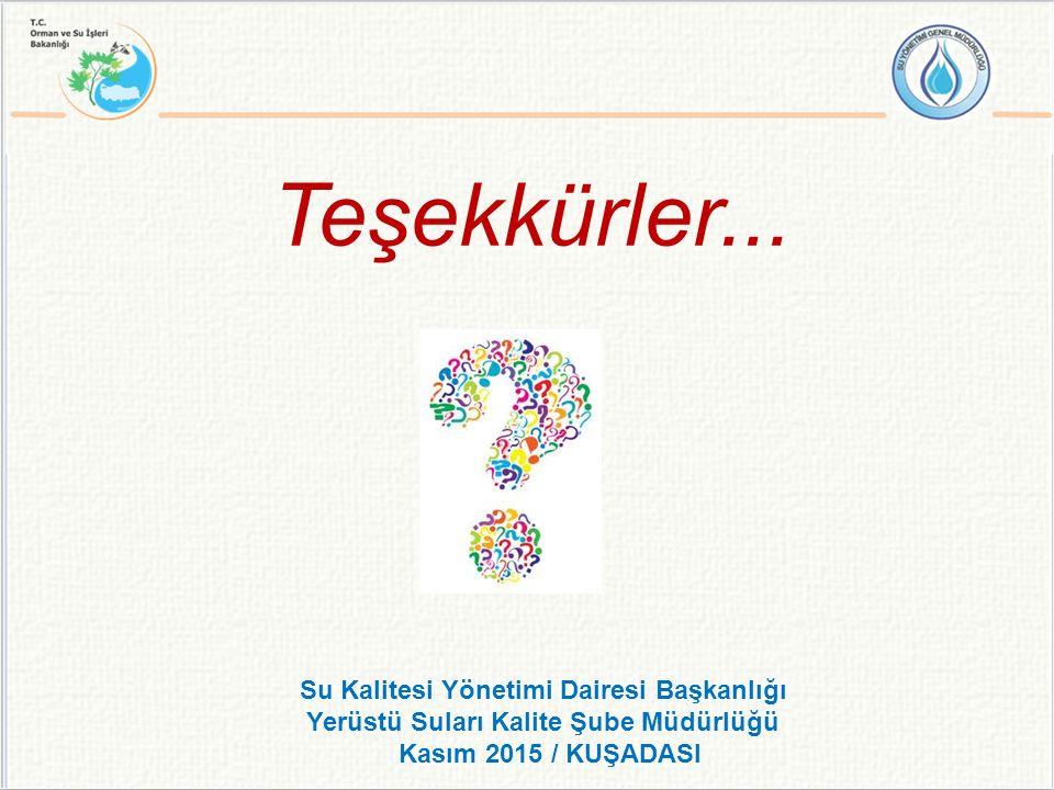 Su Kalitesi Yönetimi Dairesi Başkanlığı Yerüstü Suları Kalite Şube Müdürlüğü Kasım 2015 / KUŞADASI Teşekkürler...