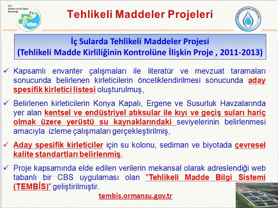 İç Sularda Tehlikeli Maddeler Projesi (Tehlikeli Madde Kirliliğinin Kontrolüne İlişkin Proje, 2011-2013) Kapsamlı envanter çalışmaları ile literatür v