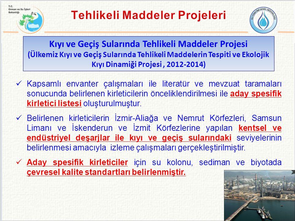 Kıyı ve Geçiş Sularında Tehlikeli Maddeler Projesi (Ülkemiz Kıyı ve Geçiş Sularında Tehlikeli Maddelerin Tespiti ve Ekolojik Kıyı Dinamiği Projesi, 2012-2014) Kapsamlı envanter çalışmaları ile literatür ve mevzuat taramaları sonucunda belirlenen kirleticilerin önceliklendirilmesi ile aday spesifik kirletici listesi oluşturulmuştur.