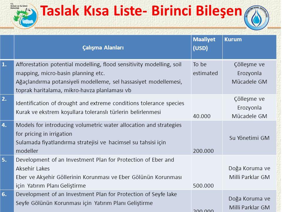 Taslak Kısa Liste- Birinci Bileşen 13 Çalışma Alanları Maaliyet (USD) Kurum 1.