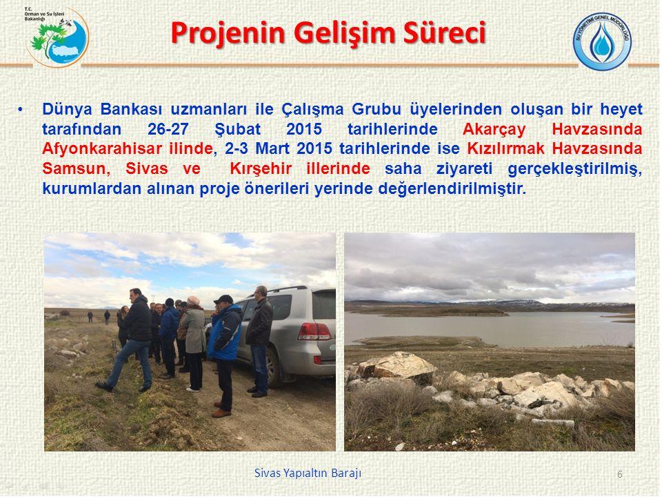Projenin Gelişim Süreci Dünya Bankası uzmanları ile Çalışma Grubu üyelerinden oluşan bir heyet tarafından 26-27 Şubat 2015 tarihlerinde Akarçay Havzasında Afyonkarahisar ilinde, 2-3 Mart 2015 tarihlerinde ise Kızılırmak Havzasında Samsun, Sivas ve Kırşehir illerinde saha ziyareti gerçekleştirilmiş, kurumlardan alınan proje önerileri yerinde değerlendirilmiştir.