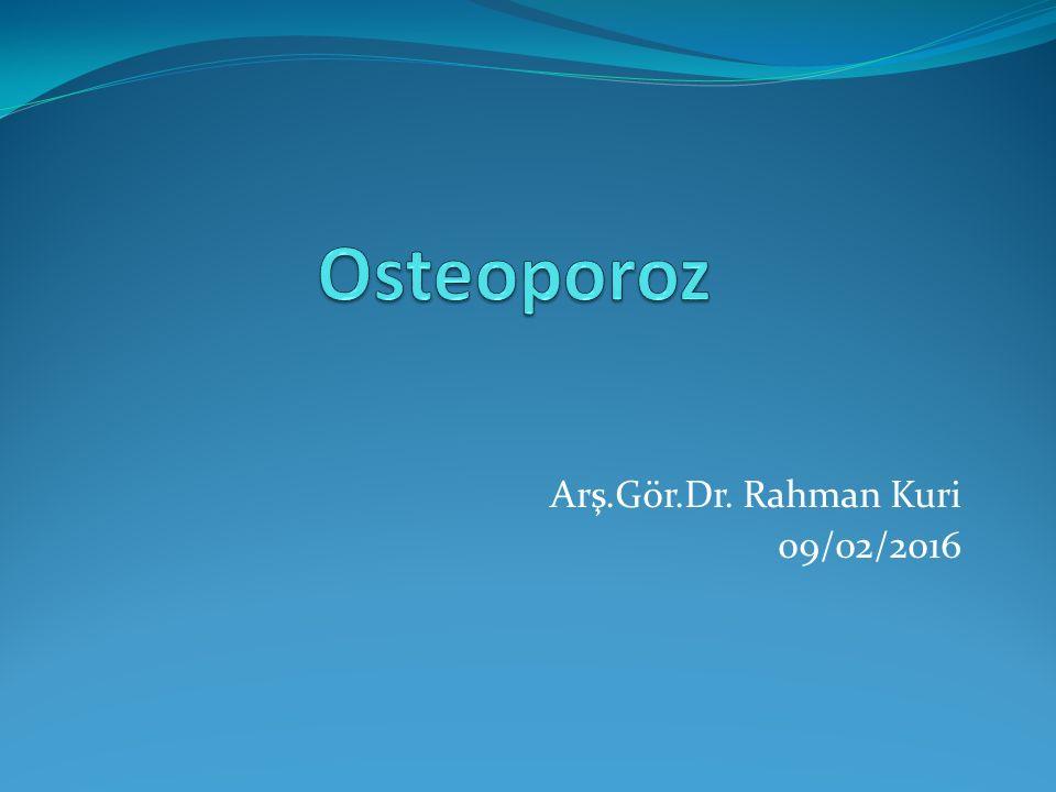 Epidemiyoloji ABD'de postmenopozal beyaz kadınların %30'unda osteoporoz mevcuttur.