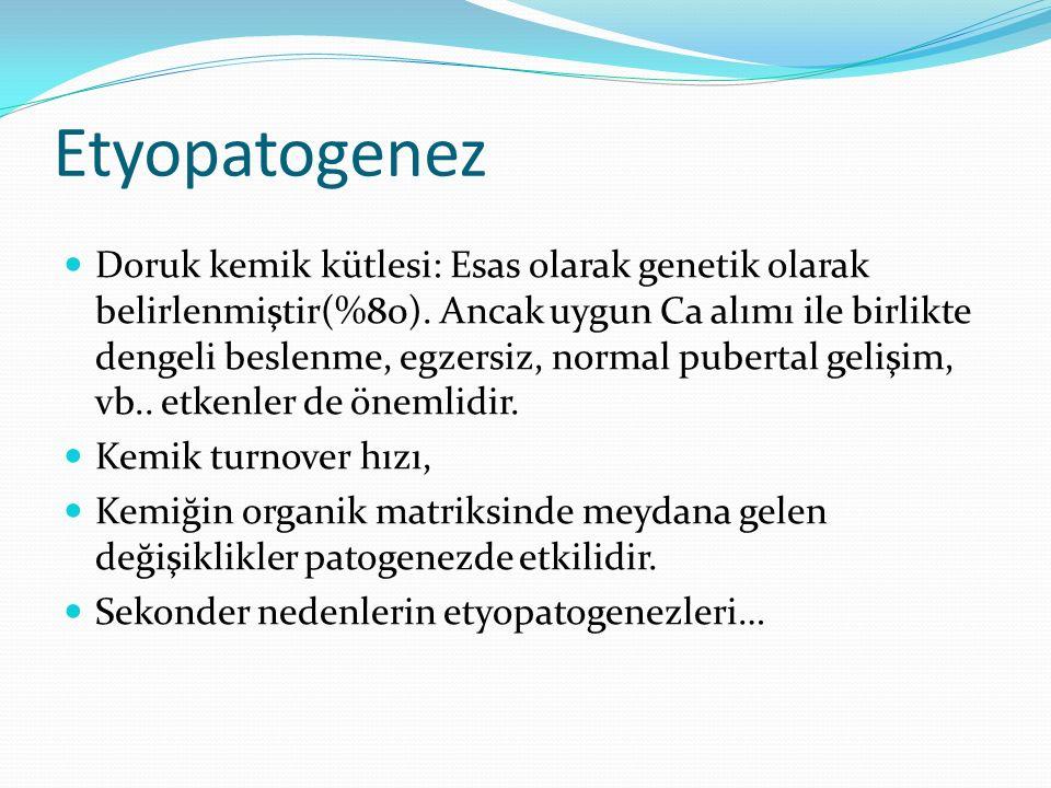 Etyopatogenez Doruk kemik kütlesi: Esas olarak genetik olarak belirlenmiştir(%80).