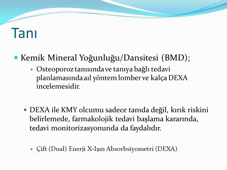 Tanı Kemik Mineral Yoğunluğu/Dansitesi (BMD); Osteoporoz tanısında ve tanıya bağlı tedavi planlamasında aıl yöntem lomber ve kalça DEXA incelemesidir.