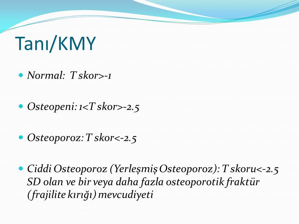 Tanı/KMY Normal: T skor>-1 Osteopeni: 1 -2.5 Osteoporoz: T skor<-2.5 Ciddi Osteoporoz (Yerleşmiş Osteoporoz): T skoru<-2.5 SD olan ve bir veya daha fazla osteoporotik fraktür (frajilite kırığı) mevcudiyeti