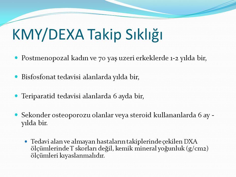 KMY/DEXA Takip Sıklığı Postmenopozal kadın ve 70 yaş uzeri erkeklerde 1-2 yılda bir, Bisfosfonat tedavisi alanlarda yılda bir, Teriparatid tedavisi alanlarda 6 ayda bir, Sekonder osteoporozu olanlar veya steroid kullananlarda 6 ay - yılda bir.