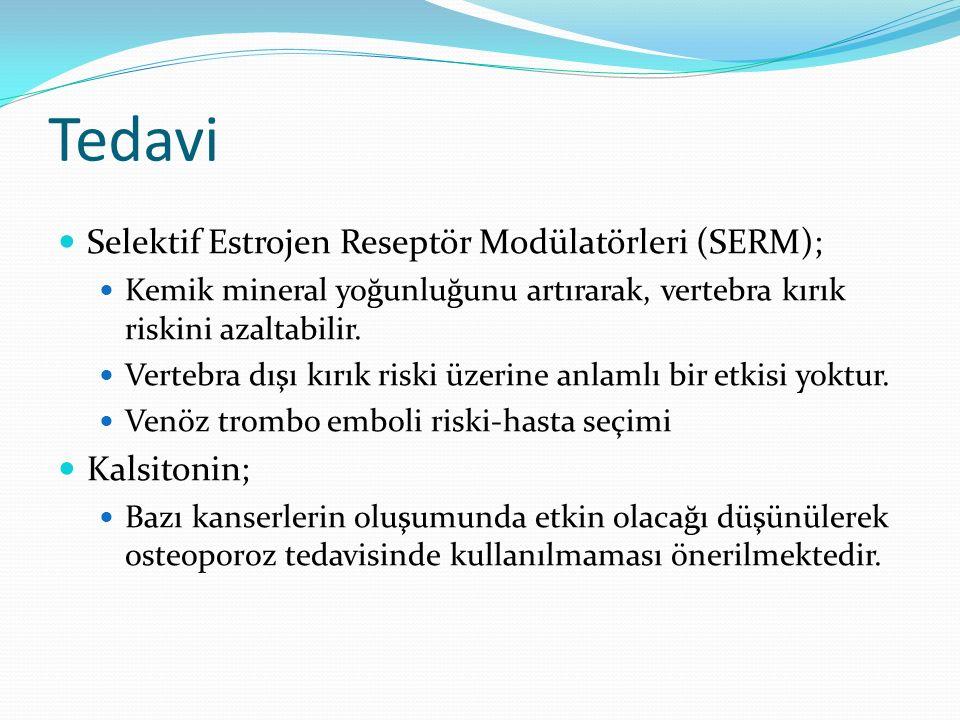 Tedavi Selektif Estrojen Reseptör Modülatörleri (SERM); Kemik mineral yoğunluğunu artırarak, vertebra kırık riskini azaltabilir.