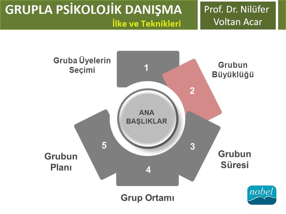 ANA BAŞLIKLAR Gruba Üyelerin Seçimi Grubun Büyüklüğü Grubun Süresi Grup Ortamı Grubun Planı 1 2 3 4 5