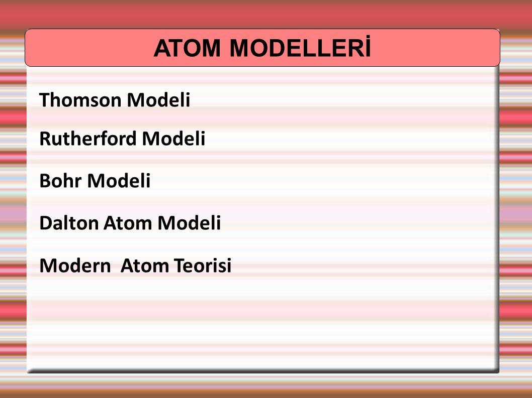 ATOM MODELLERİ Thomson Modeli Rutherford Modeli Bohr Modeli Dalton Atom Modeli Modern Atom Teorisi