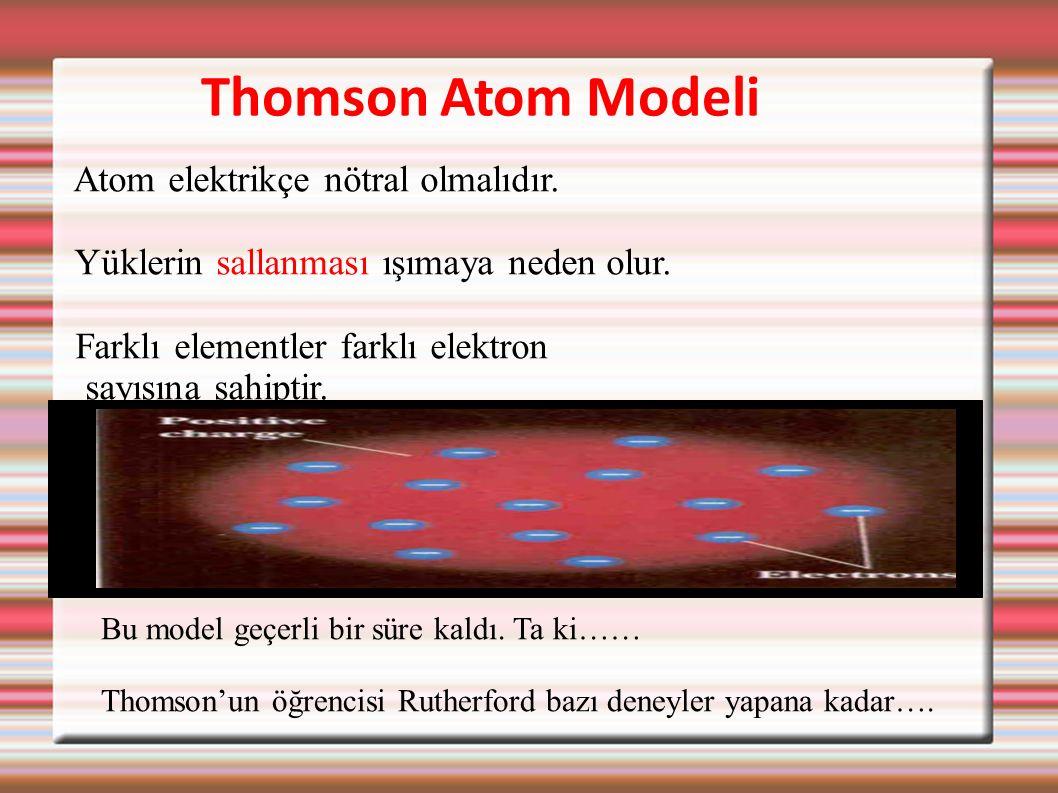 Thomson Atom Modeli Atom elektrikçe nötral olmalıdır. Yüklerin sallanması ışımaya neden olur. Farklı elementler farklı elektron sayısına sahiptir. Bu