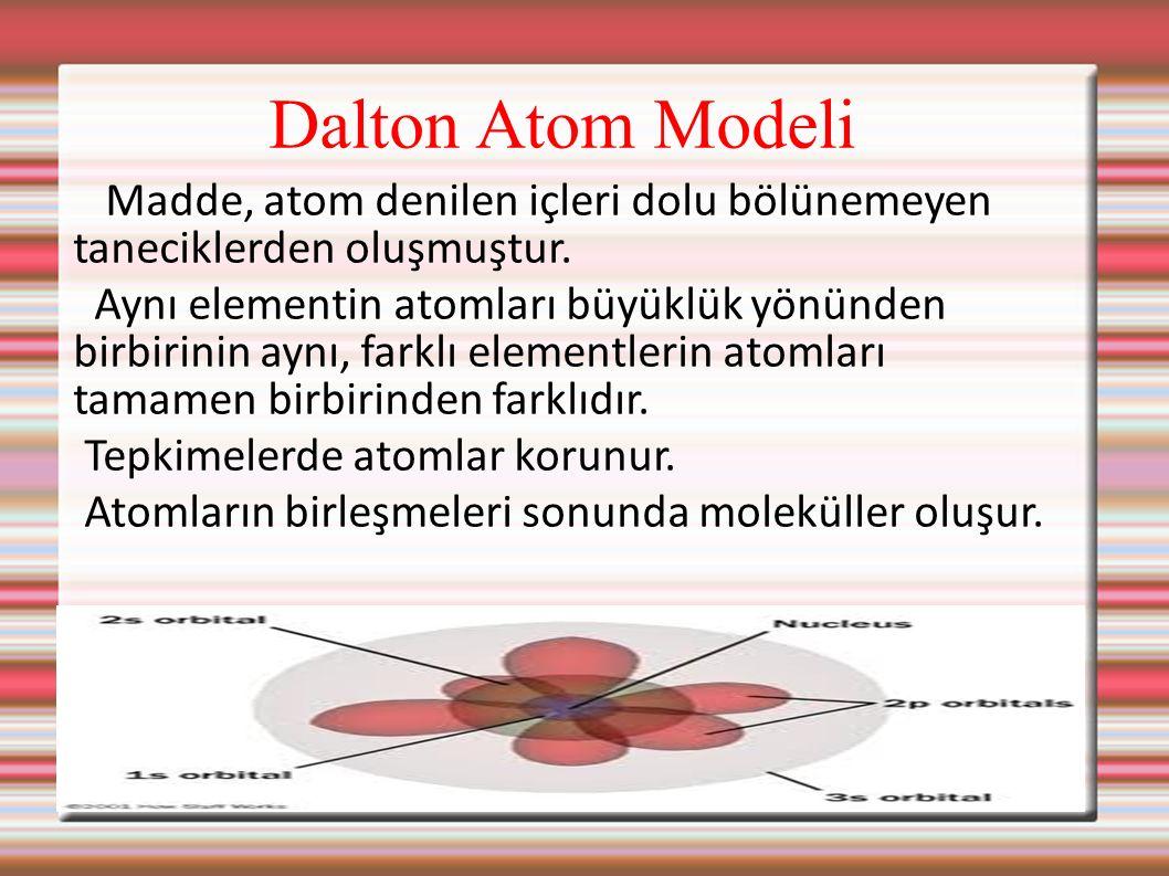 Dalton Atom Modeli Madde, atom denilen içleri dolu bölünemeyen taneciklerden oluşmuştur. Aynı elementin atomları büyüklük yönünden birbirinin aynı, fa