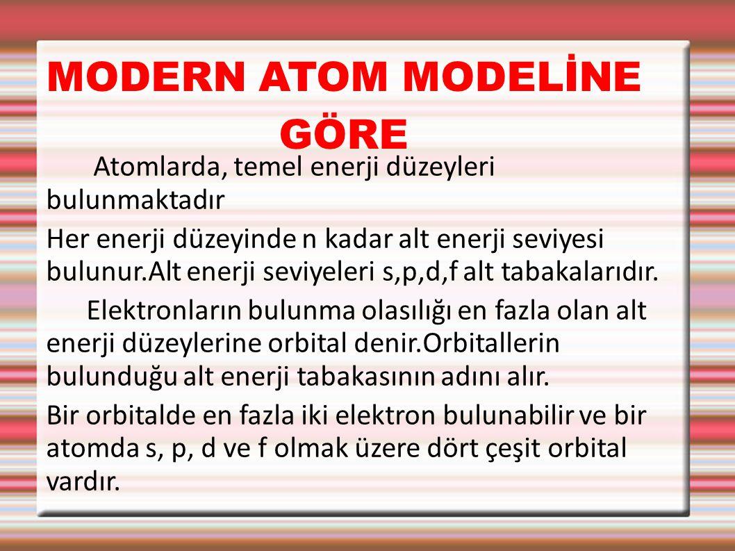 MODERN ATOM MODELİNE GÖRE Atomlarda, temel enerji düzeyleri bulunmaktadır Her enerji düzeyinde n kadar alt enerji seviyesi bulunur.Alt enerji seviyeleri s,p,d,f alt tabakalarıdır.