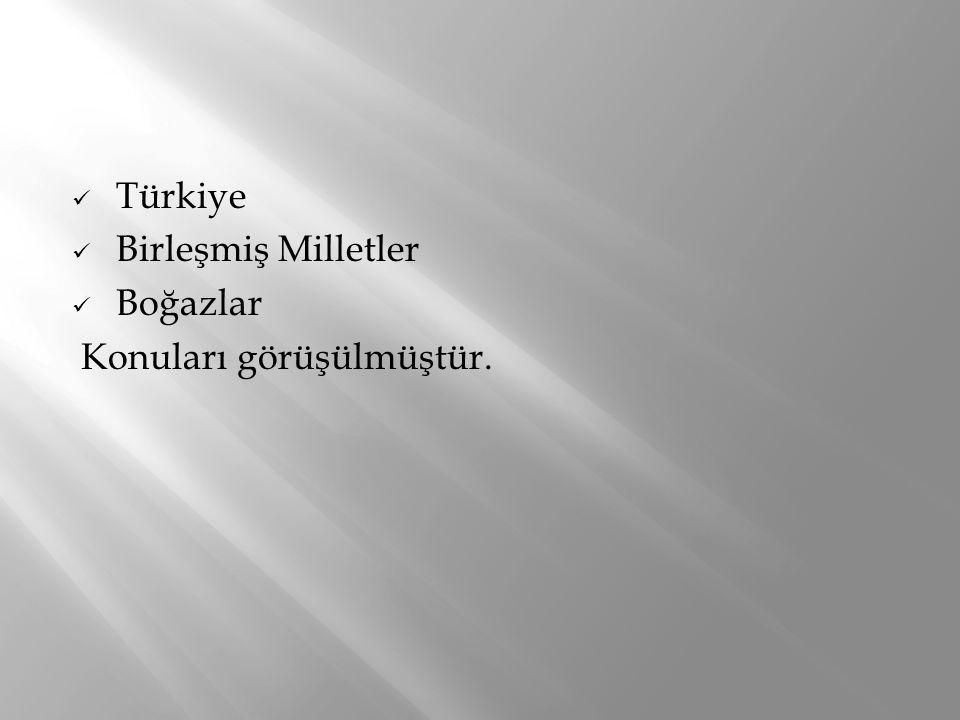 Türkiye Birleşmiş Milletler Boğazlar Konuları görüşülmüştür.