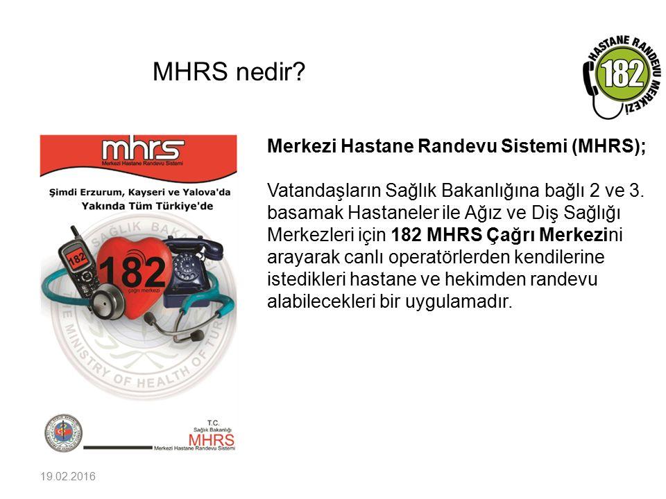 MHRS nedir? 19.02.2016 Merkezi Hastane Randevu Sistemi (MHRS); Vatandaşların Sağlık Bakanlığına bağlı 2 ve 3. basamak Hastaneler ile Ağız ve Diş Sağlı