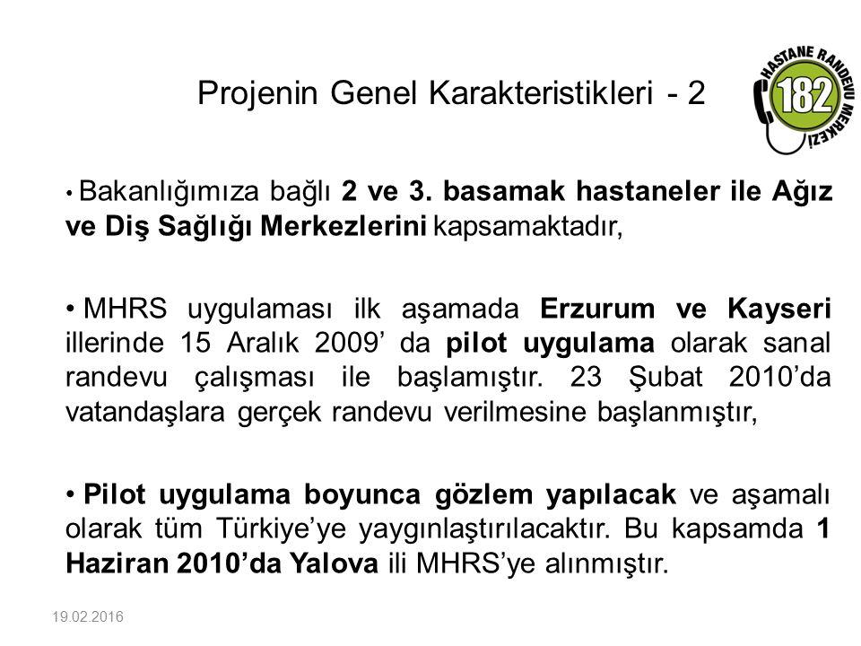 Projenin Genel Karakteristikleri - 2 19.02.2016 Bakanlığımıza bağlı 2 ve 3. basamak hastaneler ile Ağız ve Diş Sağlığı Merkezlerini kapsamaktadır, MHR
