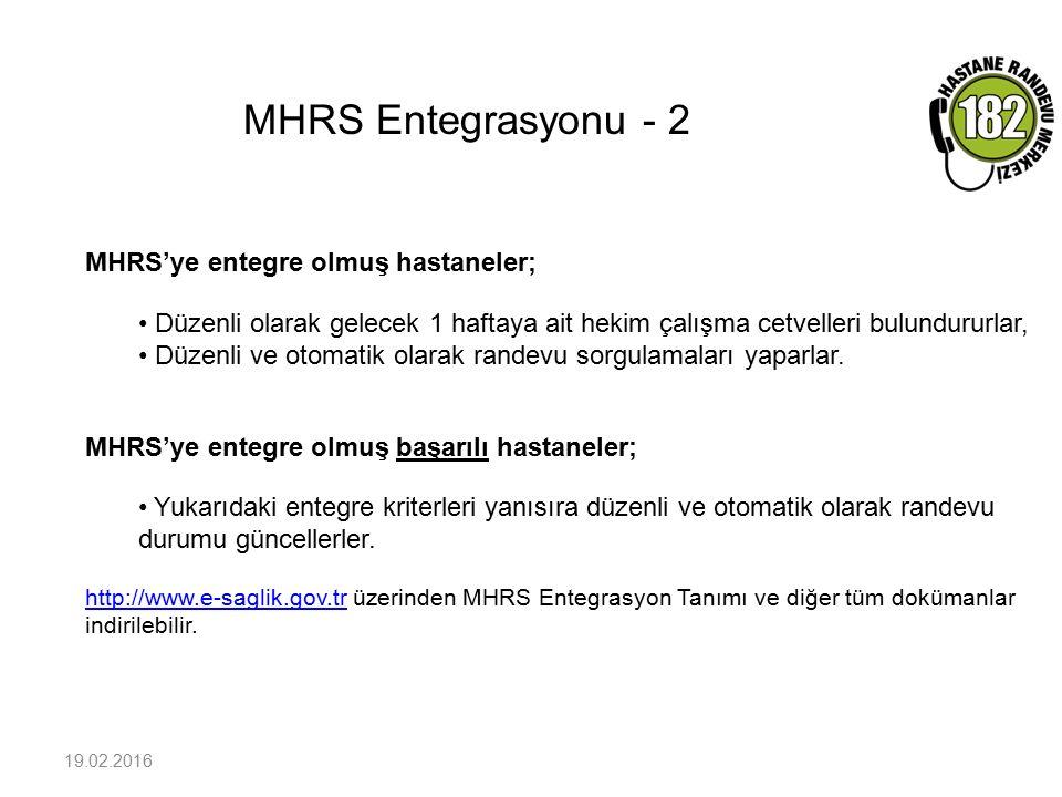 MHRS Entegrasyonu - 2 19.02.2016 MHRS'ye entegre olmuş hastaneler; Düzenli olarak gelecek 1 haftaya ait hekim çalışma cetvelleri bulundururlar, Düzenl