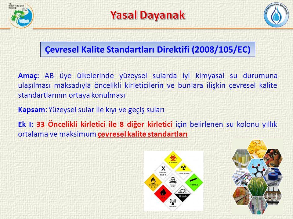 Amaç: AB üye ülkelerinde yüzeysel sularda iyi kimyasal su durumuna ulaşılması maksadıyla öncelikli kirleticilerin ve bunlara ilişkin çevresel kalite standartlarının ortaya konulması Kapsam: Yüzeysel sular ile kıyı ve geçiş suları Ek I: 33 Öncelikli kirletici ile 8 diğer kirletici için belirlenen su kolonu yıllık ortalama ve maksimum çevresel kalite standartları Çevresel Kalite Standartları Direktifi (2008/105/EC)
