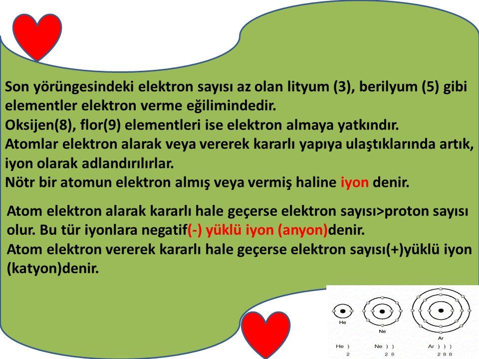 Son yörüngesindeki elektron sayısı az olan lityum (3), berilyum (5) gibi elementler elektron verme eğilimindedir.