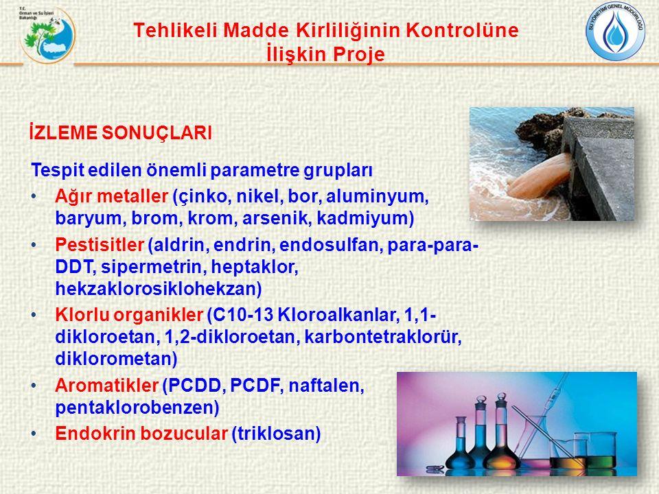 Tehlikeli Madde Kirliliğinin Kontrolüne İlişkin Proje İZLEME SONUÇLARI Tespit edilen önemli parametre grupları Ağır metaller (çinko, nikel, bor, aluminyum, baryum, brom, krom, arsenik, kadmiyum) Pestisitler (aldrin, endrin, endosulfan, para-para- DDT, sipermetrin, heptaklor, hekzaklorosiklohekzan) Klorlu organikler (C10-13 Kloroalkanlar, 1,1- dikloroetan, 1,2-dikloroetan, karbontetraklorür, diklorometan) Aromatikler (PCDD, PCDF, naftalen, pentaklorobenzen) Endokrin bozucular (triklosan)