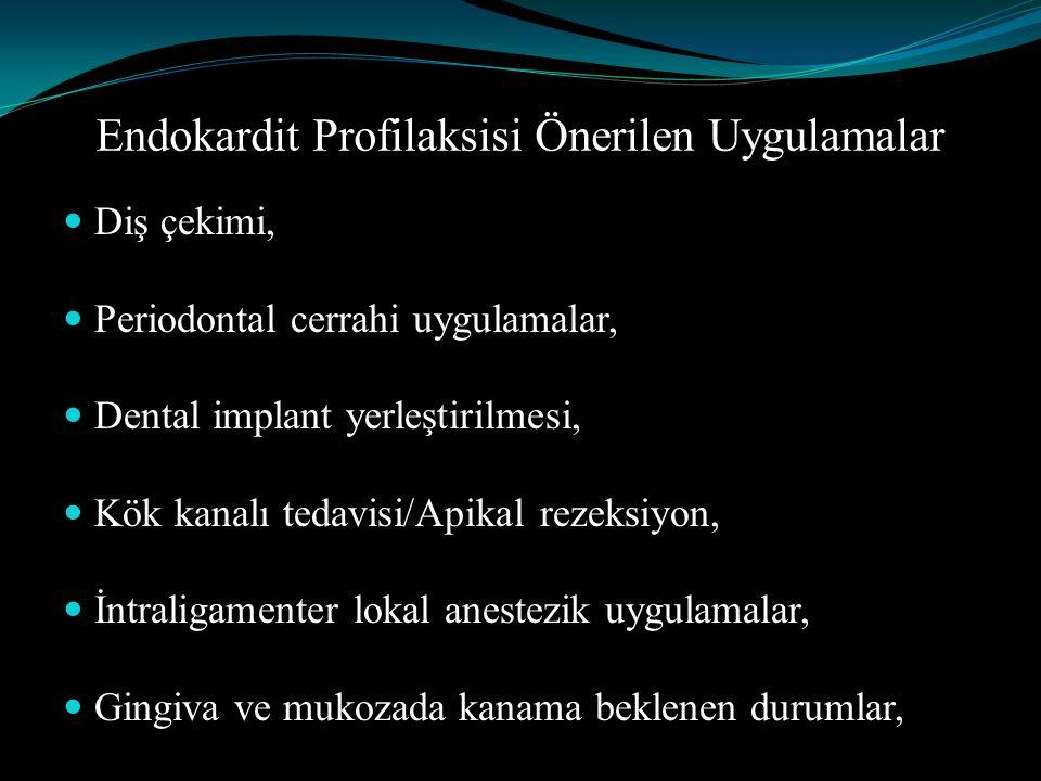 Endokardit Profilaksisi Önerilen Uygulamalar Diş çekimi, Periodontal cerrahi uygulamalar, Dental implant yerleştirilmesi, Kök kanalı tedavisi/Apikal r