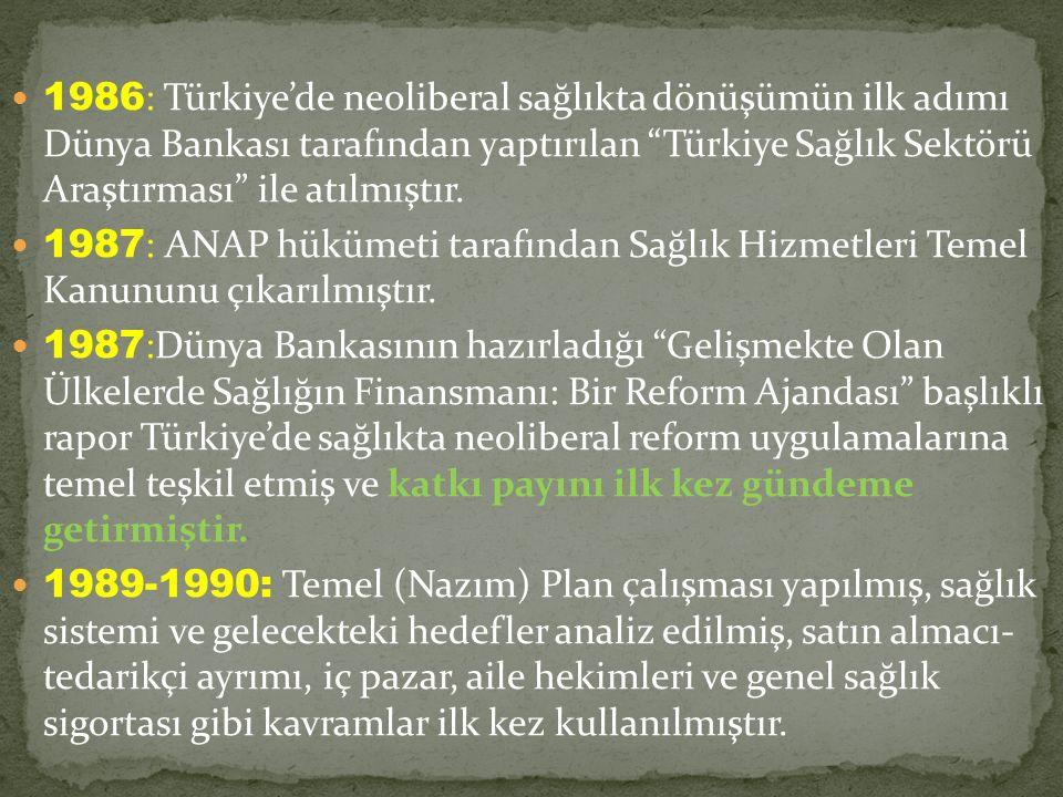 1986 : Türkiye'de neoliberal sağlıkta dönüşümün ilk adımı Dünya Bankası tarafından yaptırılan Türkiye Sağlık Sektörü Araştırması ile atılmıştır.