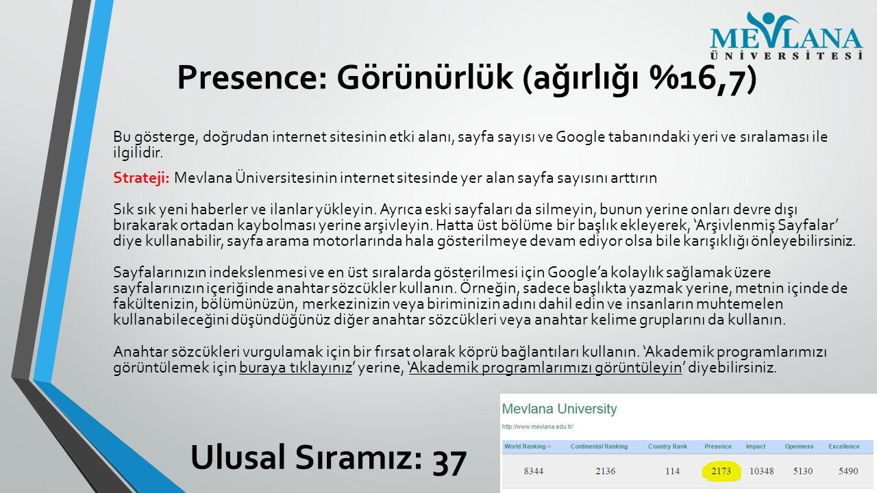 Presence: Görünürlük (ağırlığı %16,7) Bu gösterge, doğrudan internet sitesinin etki alanı, sayfa sayısı ve Google tabanındaki yeri ve sıralaması ile i