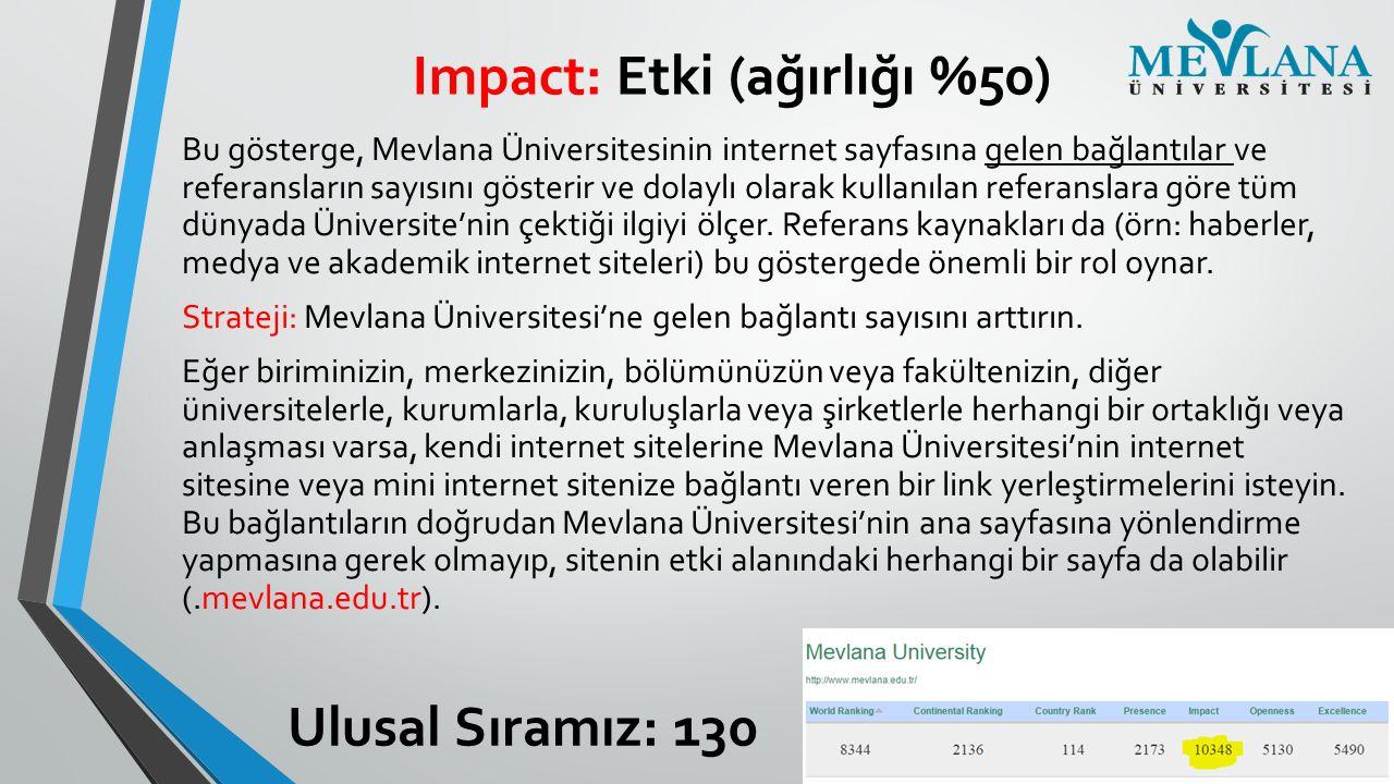Impact: Etki (ağırlığı %50) Bu gösterge, Mevlana Üniversitesinin internet sayfasına gelen bağlantılar ve referansların sayısını gösterir ve dolaylı ol