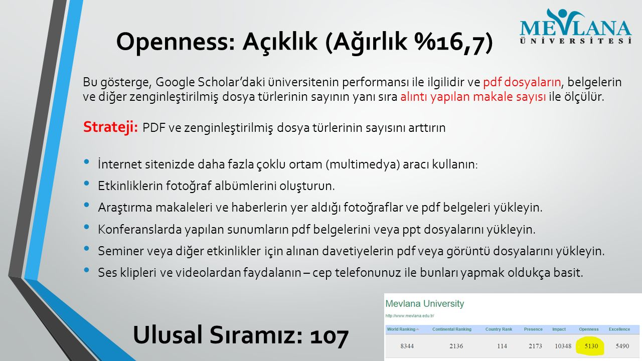 Openness: Açıklık (Ağırlık %16,7) Bu gösterge, Google Scholar'daki üniversitenin performansı ile ilgilidir ve pdf dosyaların, belgelerin ve diğer zeng
