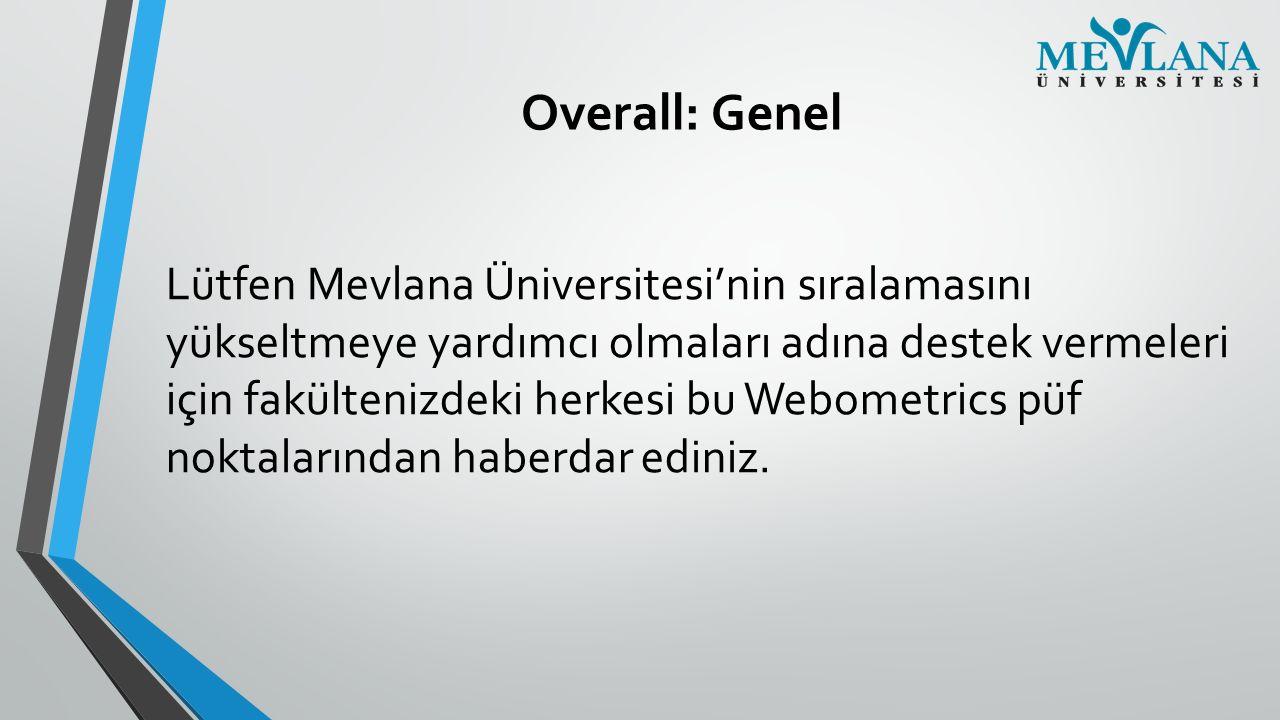Overall: Genel Lütfen Mevlana Üniversitesi'nin sıralamasını yükseltmeye yardımcı olmaları adına destek vermeleri için fakültenizdeki herkesi bu Webome