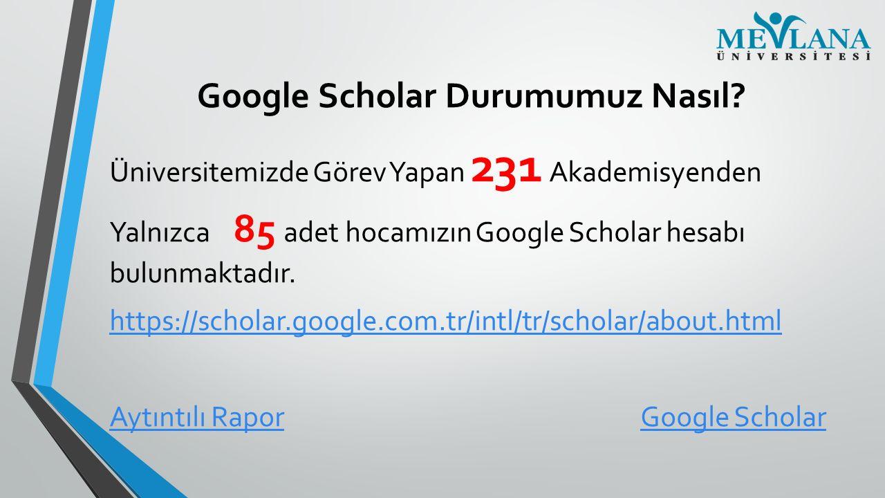 Google Scholar Durumumuz Nasıl? Üniversitemizde Görev Yapan 231 Akademisyenden Yalnızca 85 adet hocamızın Google Scholar hesabı bulunmaktadır. https:/