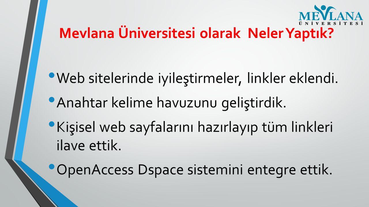 Mevlana Üniversitesi olarak Neler Yaptık? Web sitelerinde iyileştirmeler, linkler eklendi. Anahtar kelime havuzunu geliştirdik. Kişisel web sayfaların