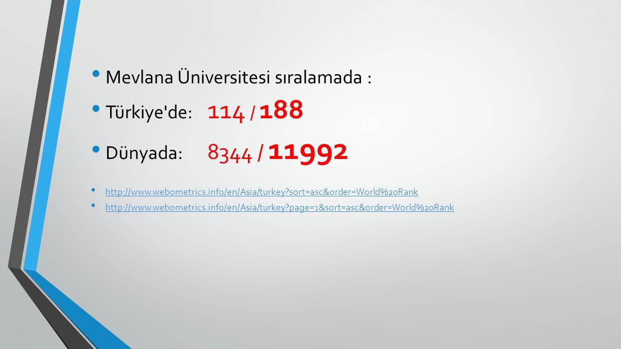 Mevlana Üniversitesi sıralamada : Türkiye'de: 114 / 188 Dünyada: 8344 / 11992 http://www.webometrics.info/en/Asia/turkey?sort=asc&order=World%20Rank h