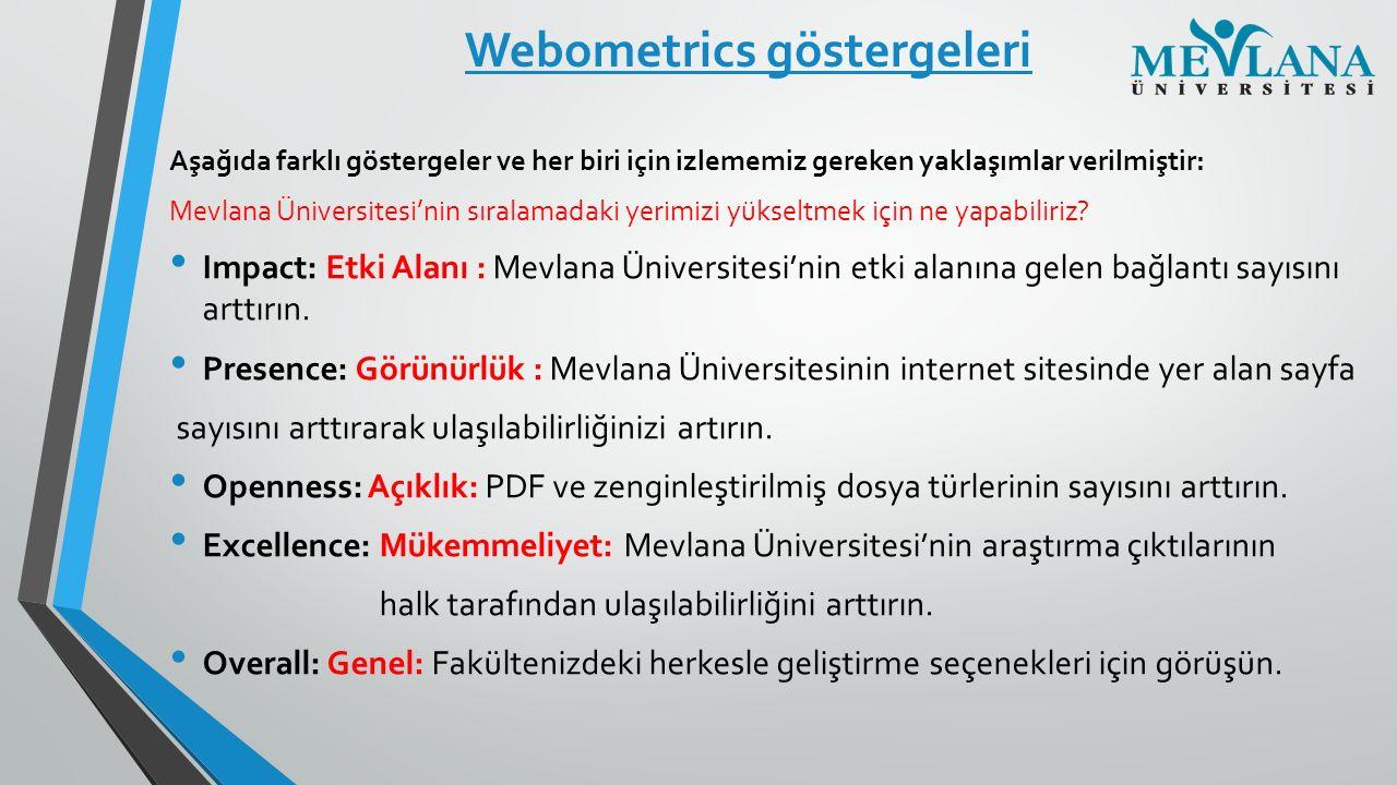 Webometrics göstergeleri Aşağıda farklı göstergeler ve her biri için izlememiz gereken yaklaşımlar verilmiştir: Mevlana Üniversitesi'nin sıralamadaki