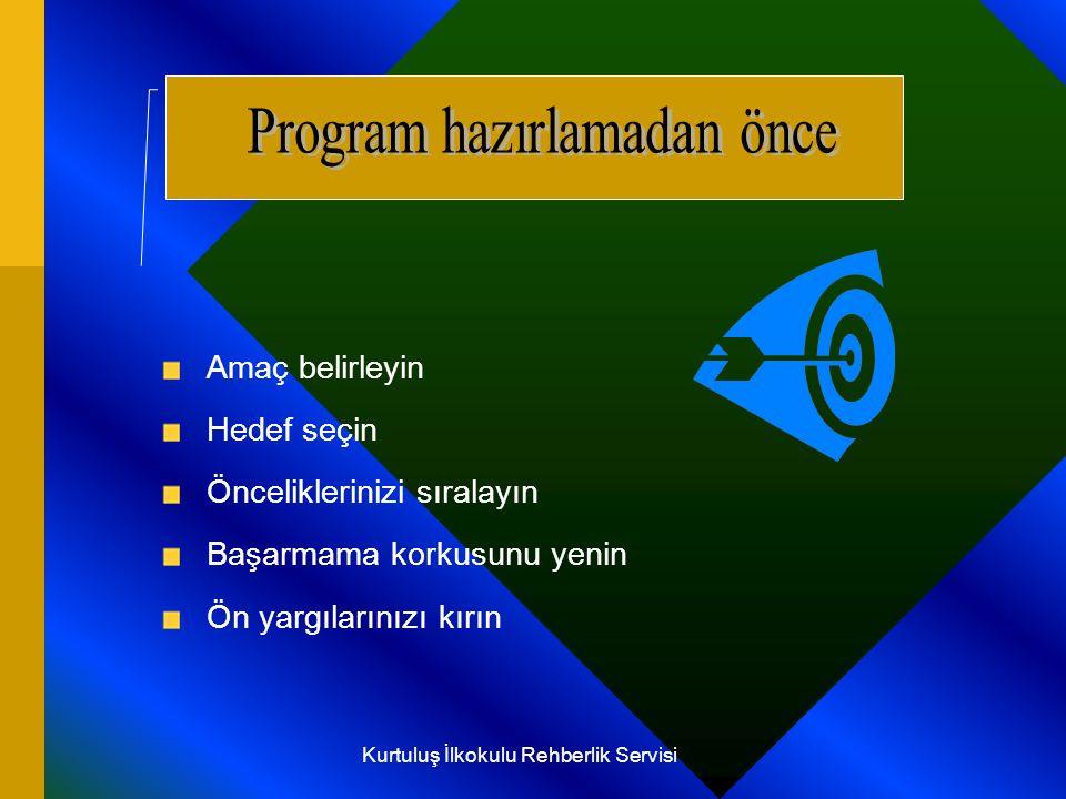 B unların başında etkili ders çalışmanın sihirli cümlesi olarak özetlenebilecek Amaç, Hedef ve Önceliklerin tanımlanmamış olması gelir.