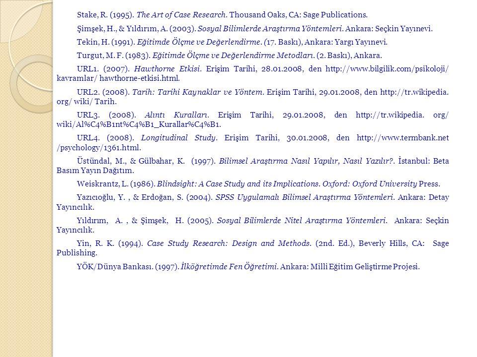 Stake, R. (1995). The Art of Case Research. Thousand Oaks, CA: Sage Publications. Şimşek, H., & Yıldırım, A. (2003). Sosyal Bilimlerde Araştırma Yönte