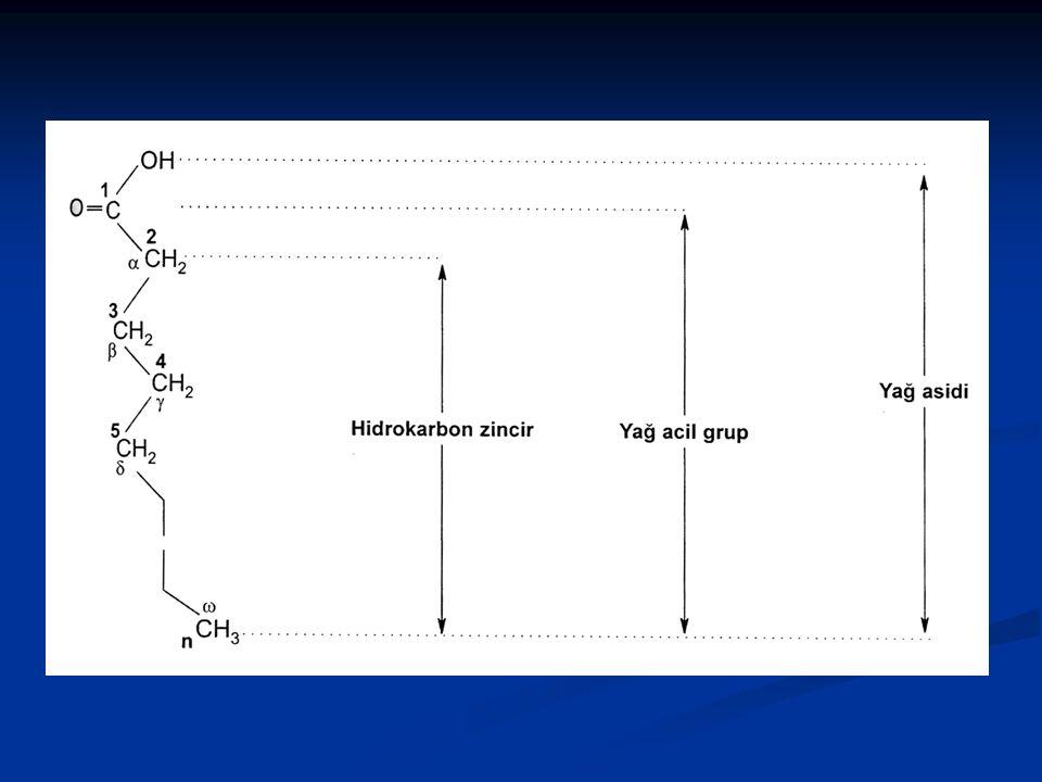 Örnek: Palmitik asit 16:0 Palmitik asit 16:0 Oleik asit 18:1,  9 Oleik asit 18:1,  9 (18 C, 1 çift bağ,  9 ise çift bağın karboksilik aside göre 9-10 karbonlar arasında olduğunu ve cis olduğunu gösterir.