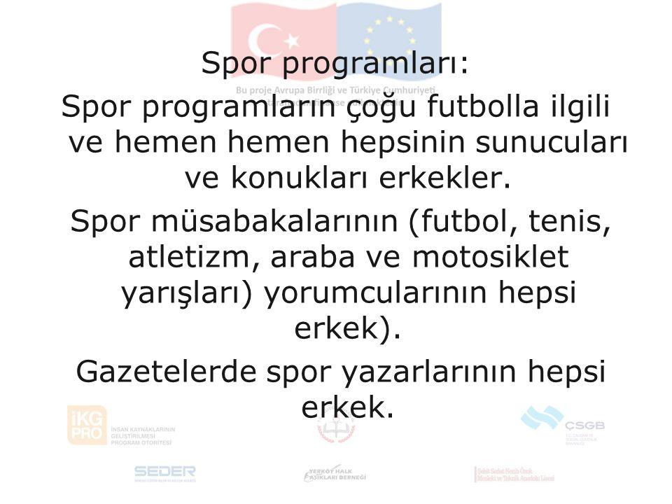 Spor programları: Spor programların çoğu futbolla ilgili ve hemen hemen hepsinin sunucuları ve konukları erkekler.