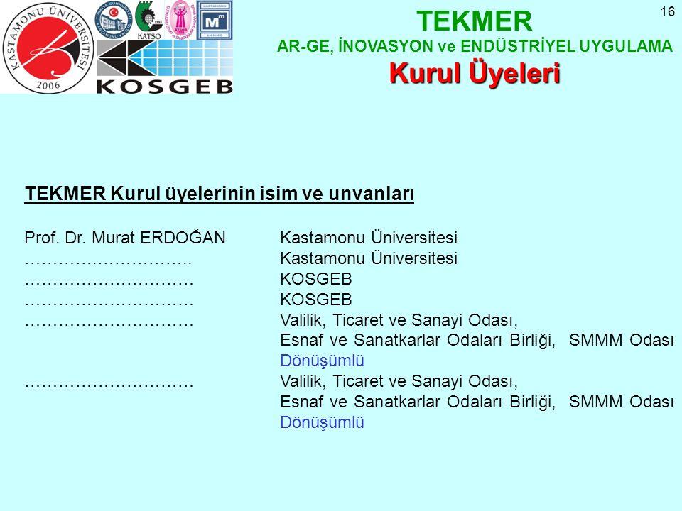 16 TEKMER Kurul üyelerinin isim ve unvanları Prof.