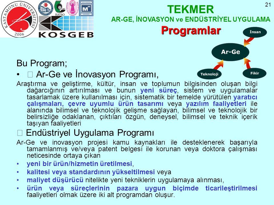 21 Bu Program;  Ar-Ge ve İnovasyon Programı, Araştırma ve geliştirme, kültür, insan ve toplumun bilgisinden oluşan bilgi dağarcığının artırılması ve bunun yeni süreç, sistem ve uygulamalar tasarlamak üzere kullanılması için, sistematik bir temelde yürütülen yaratıcı çalışmaları, çevre uyumlu ürün tasarımı veya yazılım faaliyetleri ile alanında bilimsel ve teknolojik gelişme sağlayan, bilimsel ve teknolojik bir belirsizliğe odaklanan, çıktıları özgün, deneysel, bilimsel ve teknik içerik taşıyan faaliyetleri  Endüstriyel Uygulama Programı Ar-Ge ve inovasyon projesi kamu kaynakları ile desteklenerek başarıyla tamamlanmış ve/veya patent belgesi ile korunan veya doktora çalışması neticesinde ortaya çıkan yeni bir ürün/hizmetin üretilmesi, kalitesi veya standardının yükseltilmesi veya maliyet düşürücü nitelikte yeni tekniklerin uygulamaya alınması, ürün veya süreçlerinin pazara uygun biçimde ticarileştirilmesi faaliyetleri olmak üzere iki alt programdan oluşur.