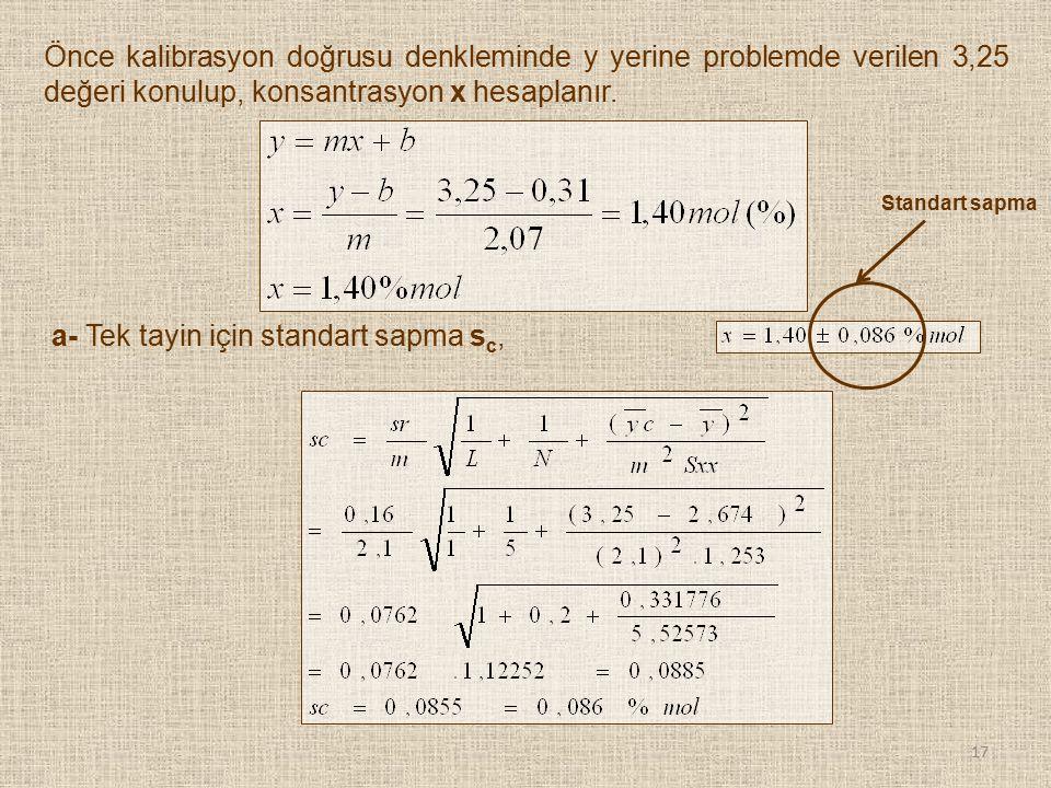Önce kalibrasyon doğrusu denkleminde y yerine problemde verilen 3,25 değeri konulup, konsantrasyon x hesaplanır. a- Tek tayin için standart sapma s c,
