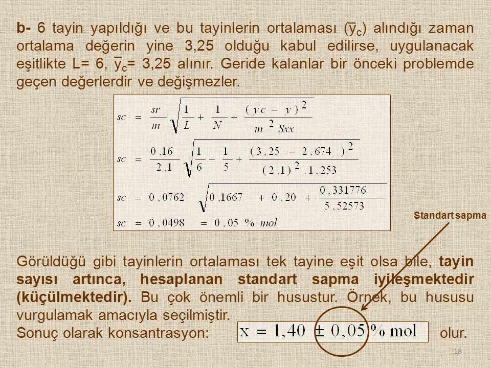 b- 6 tayin yapıldığı ve bu tayinlerin ortalaması (y c ) alındığı zaman ortalama değerin yine 3,25 olduğu kabul edilirse, uygulanacak eşitlikte L= 6, y
