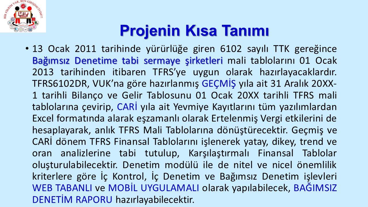 Projenin Kısa Tanımı Bağımsız Denetime tabi sermaye şirketleri 13 Ocak 2011 tarihinde yürürlüğe giren 6102 sayılı TTK gereğince Bağımsız Denetime tabi sermaye şirketleri mali tablolarını 01 Ocak 2013 tarihinden itibaren TFRS'ye uygun olarak hazırlayacaklardır.