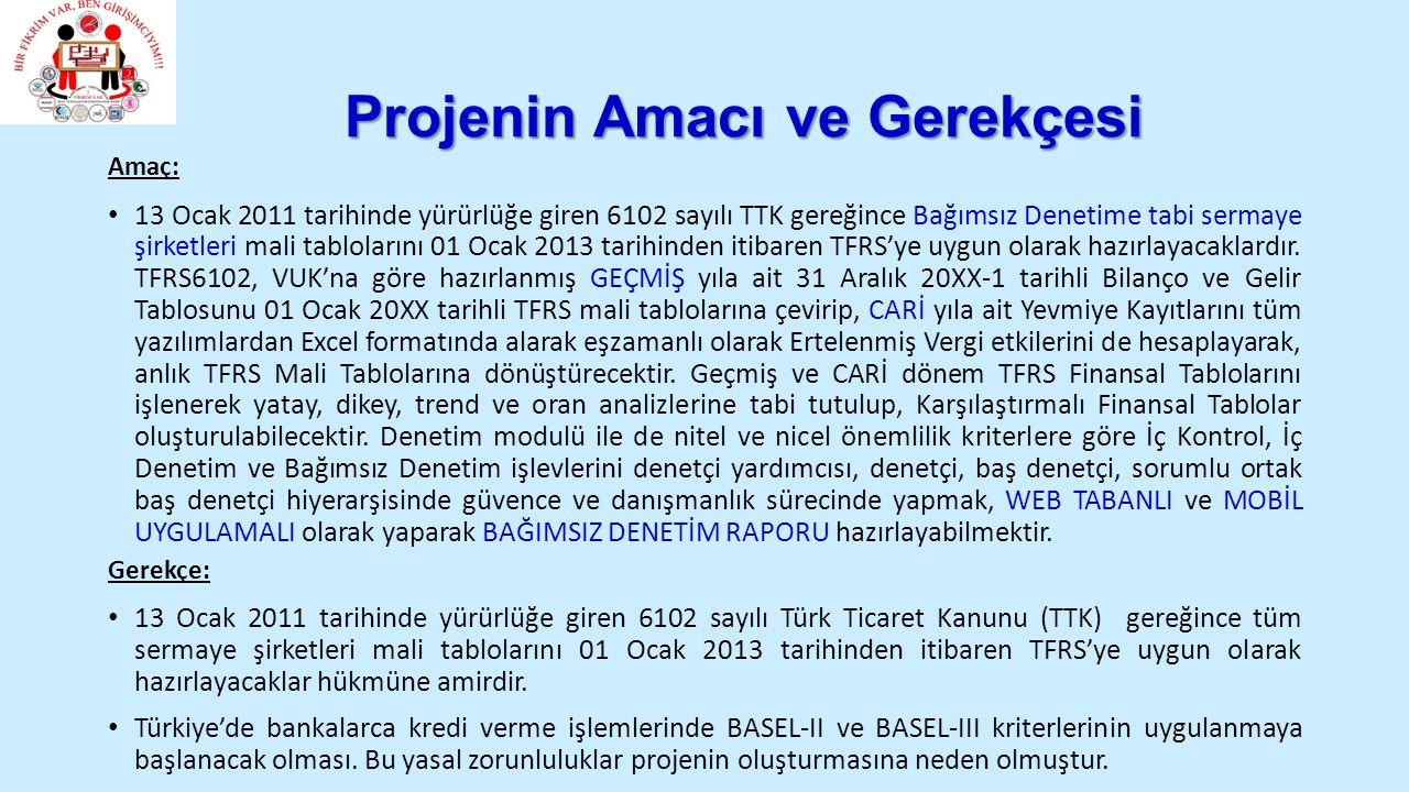 Projenin Amacı ve Gerekçesi Amaç: 13 Ocak 2011 tarihinde yürürlüğe giren 6102 sayılı TTK gereğince Bağımsız Denetime tabi sermaye şirketleri mali tablolarını 01 Ocak 2013 tarihinden itibaren TFRS'ye uygun olarak hazırlayacaklardır.
