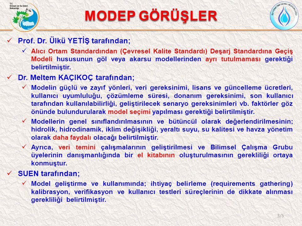 MODEP GÖRÜŞLER 3/5 Prof. Dr. Ülkü YETİŞ tarafından; Alıcı Ortam Standardından (Çevresel Kalite Standardı) Deşarj Standardına Geçiş Modeli hususunun gö